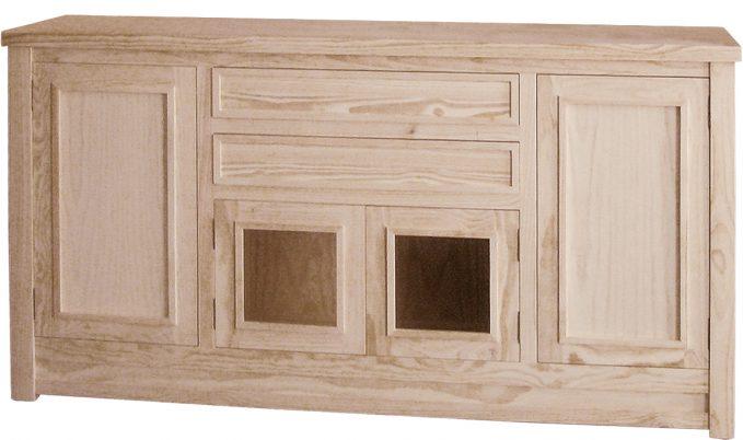 Aparador 200 cm. madera pino crudo modelo enmarcado