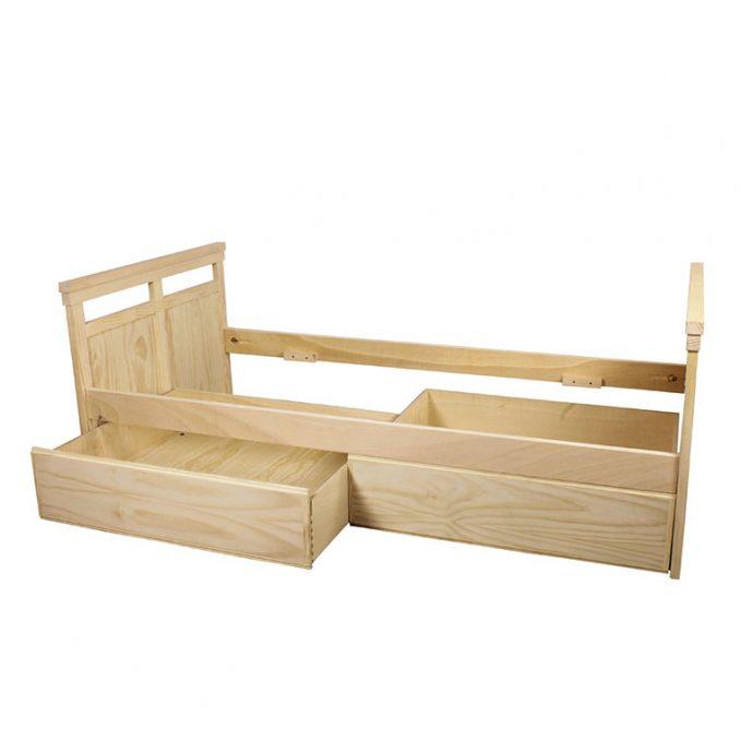 Cama 90 cms. madera pino crudo modelo Juvenil