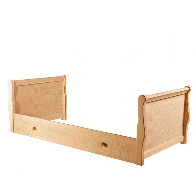 Cama 90 cms. madera pino crudo modelo barco