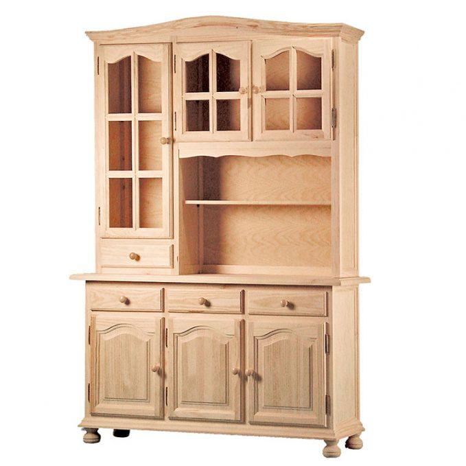 Libreria 3 puertas madera pino crudo modelo provenzal
