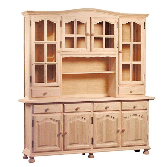 Librería 4 puertas madera pino crudo modelo provenzal