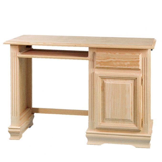 Mesa estudio puerta y cajón madera pino crudo modelo zócalo