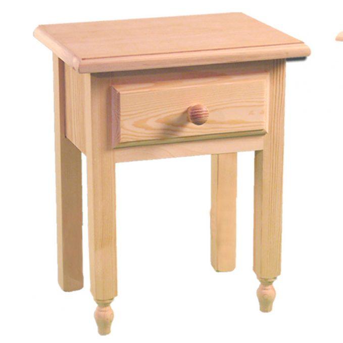Mesita 1 cajón madera pino crudo provenzal
