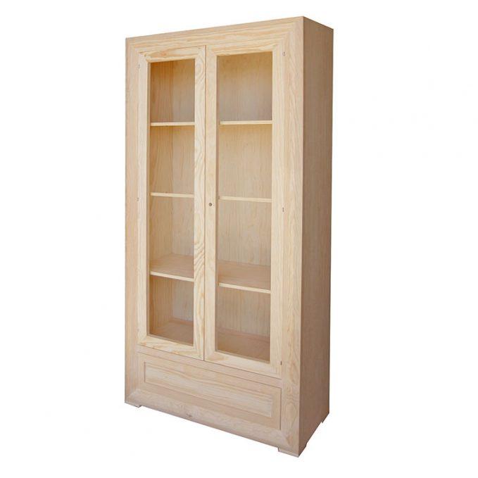 Vitrina 2 puertas madera pino crudo modelo Marsella