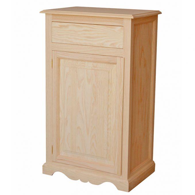 Zapatero 1 puertas y cajón madera crudo pino modelo Nápoles
