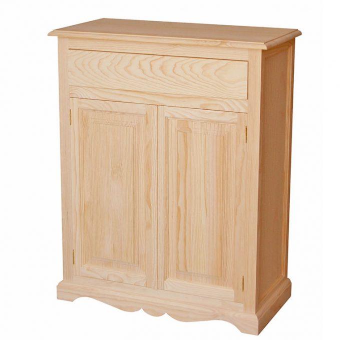 Zapatero 2 puertas y cajón madera crudo pino modelo Nápoles
