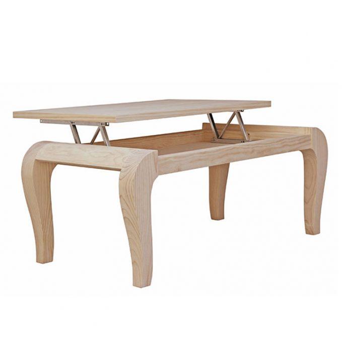 Mesa centro 110 cm. elevable madera pino crudo modelo Cisne