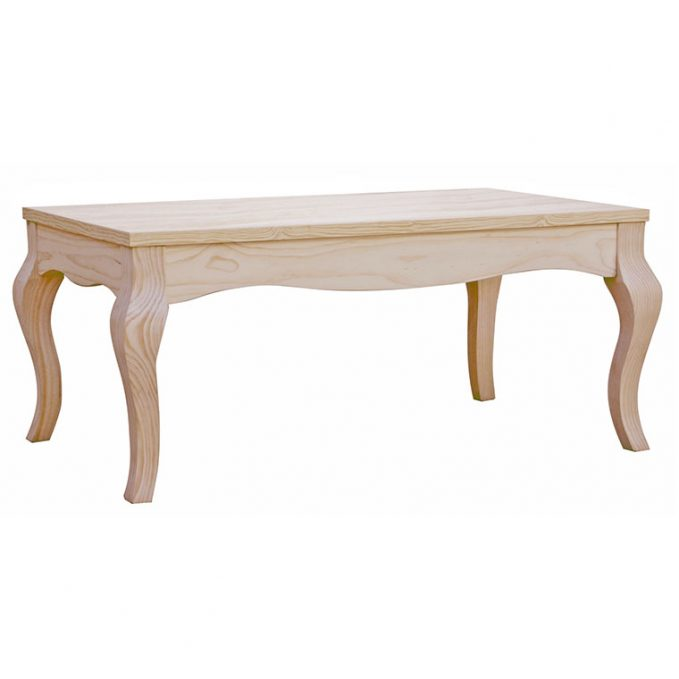 Mesa centro fija 110 cm. madera pino crudo modelo Isabelino