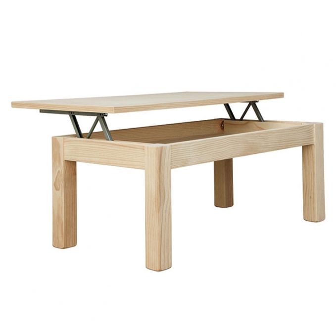 Mesa centro fija o elevable de 110 cm. madera pino crudo modelo Eco