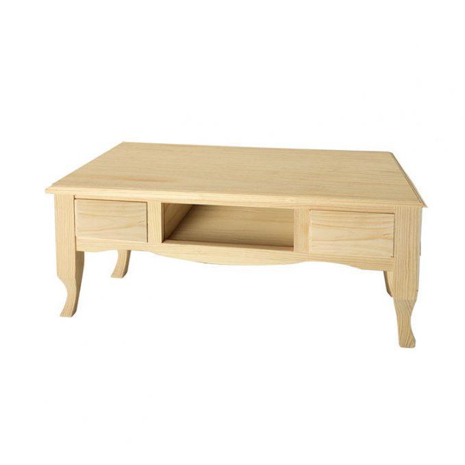 Mesa centro madera pino crudo modelo París