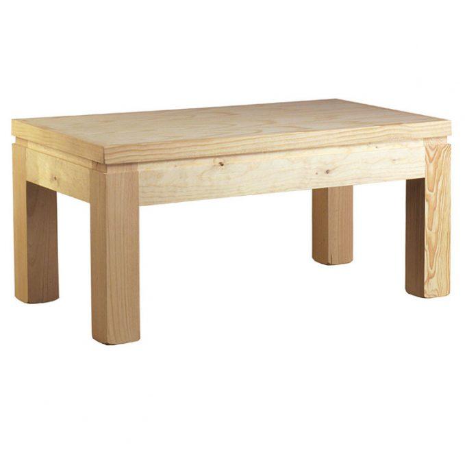Mesa centro 110 y 60 cm. madera pino crudo modelo Cantabro