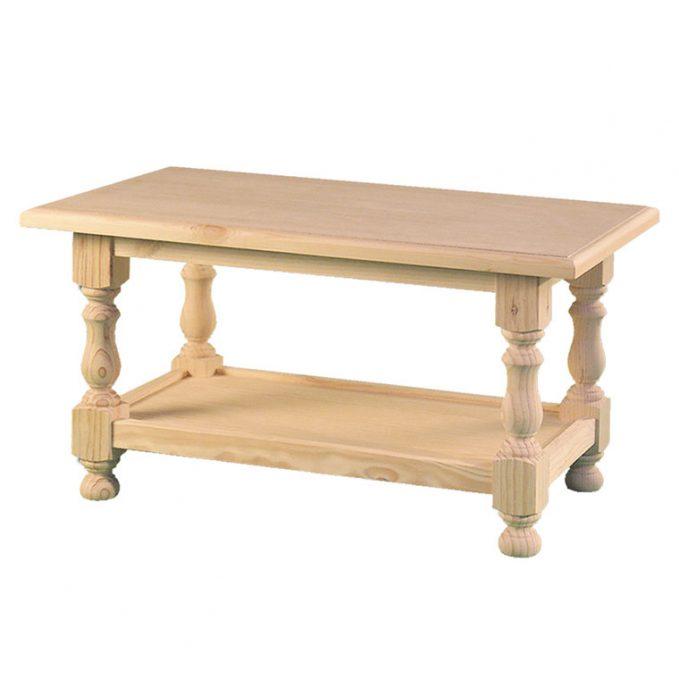 Mesa centro de 90 y 50 cms. madera pino crudo provenzal