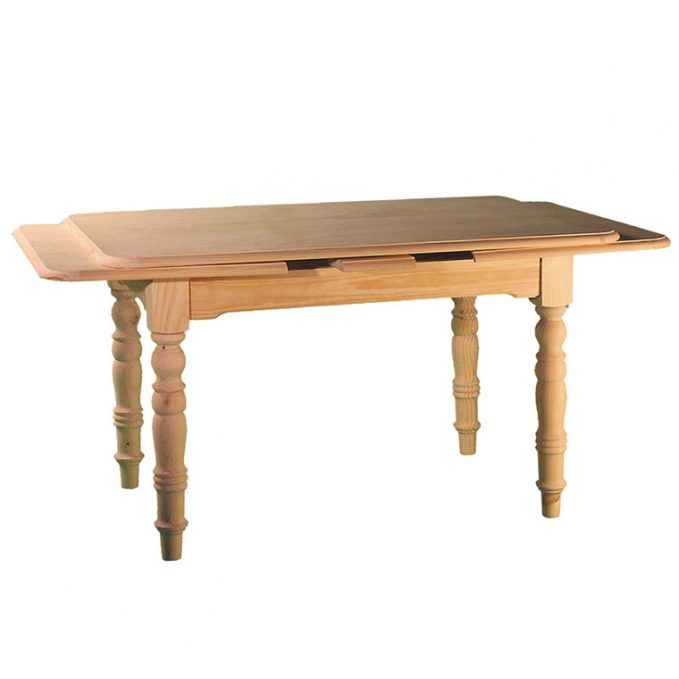 Mesa rectangular extensible 120,140,160,180 cm. madera pino crudo