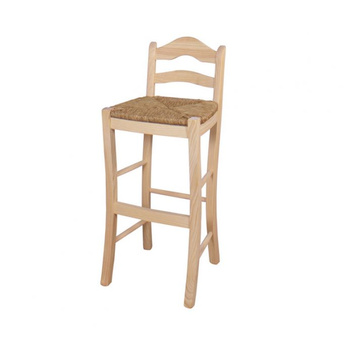 Taburete alto asiento enea respaldo madera pino crudo modelo Ubeda