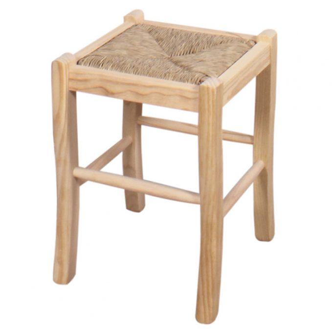 Taburete bajo asiento enea respaldo madera pino crudo modelo Ubeda