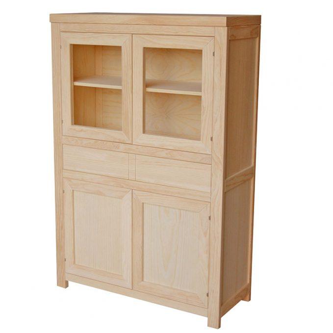 Modulo 4 puertas y cajón central madera pino crudo modelo Austria