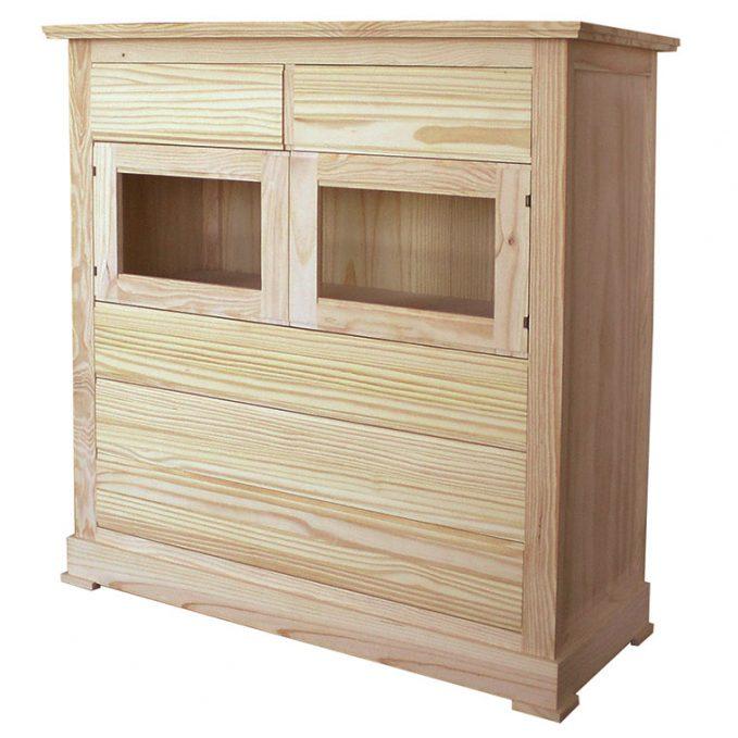 Cómoda 2 puertas y cajones madera pino crudo modelo Juvenalia