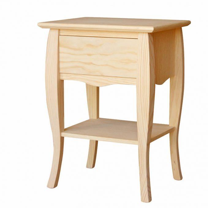 Mesita 1 cajón y bazar madera pino crudo modelo Inglés