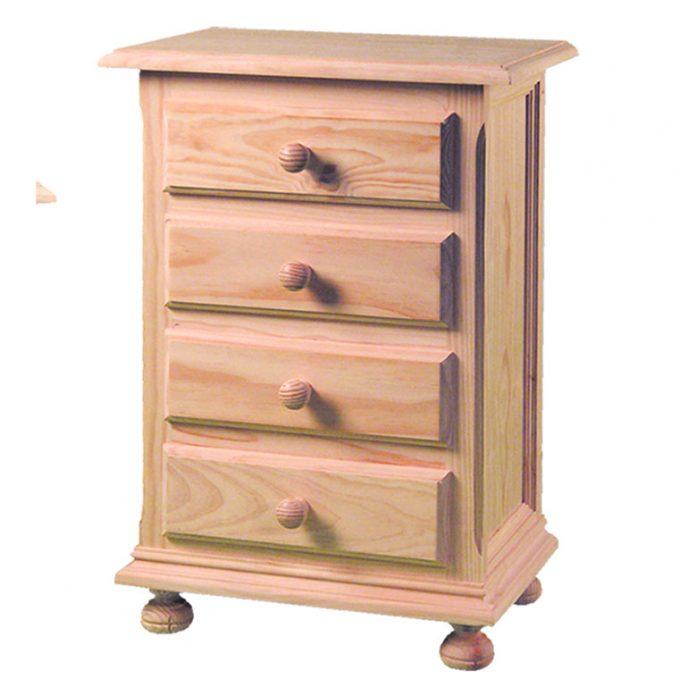 Mesita 4 cajones madera pino crudo provenzal