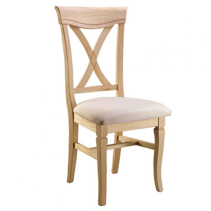 Silla modelo Valencia asiento pretapizado madera pino crudo