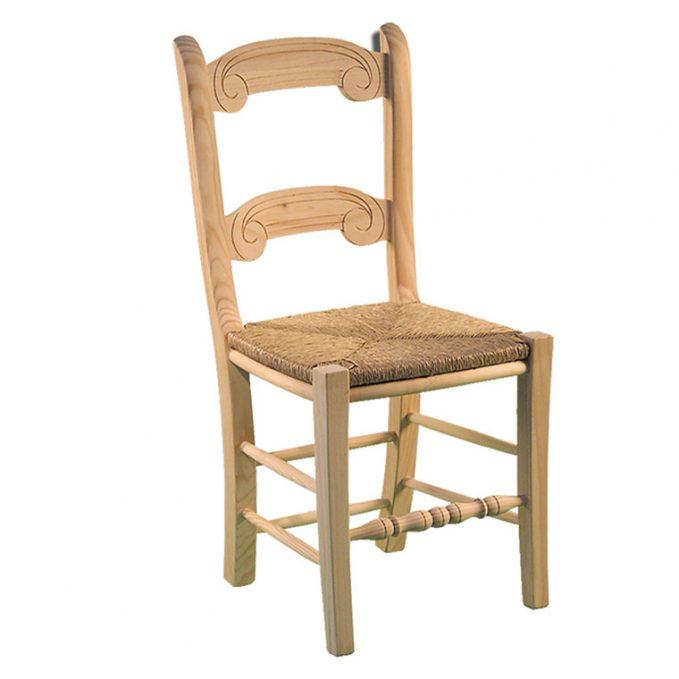 Silla modelo Rondeña asiento enea madera pino crudo
