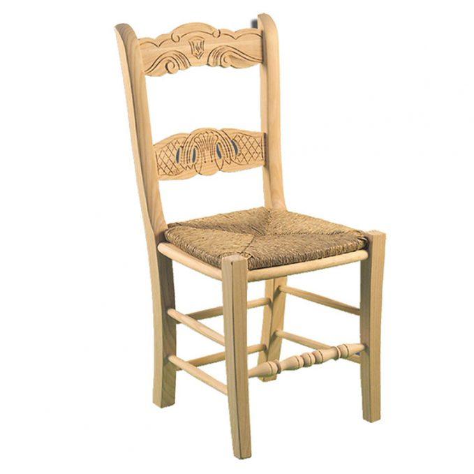 Silla modelo Calada asiento enea madera pino crudo