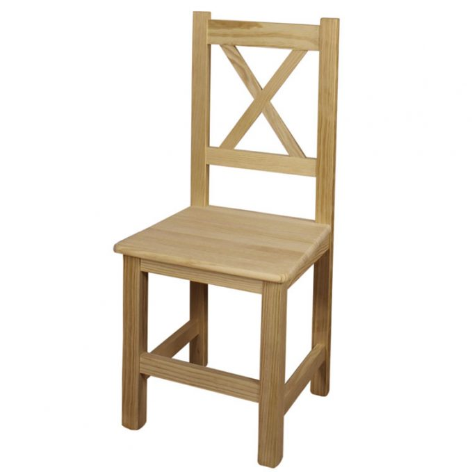 Silla modelo Cruceta asiento madera pino crudo