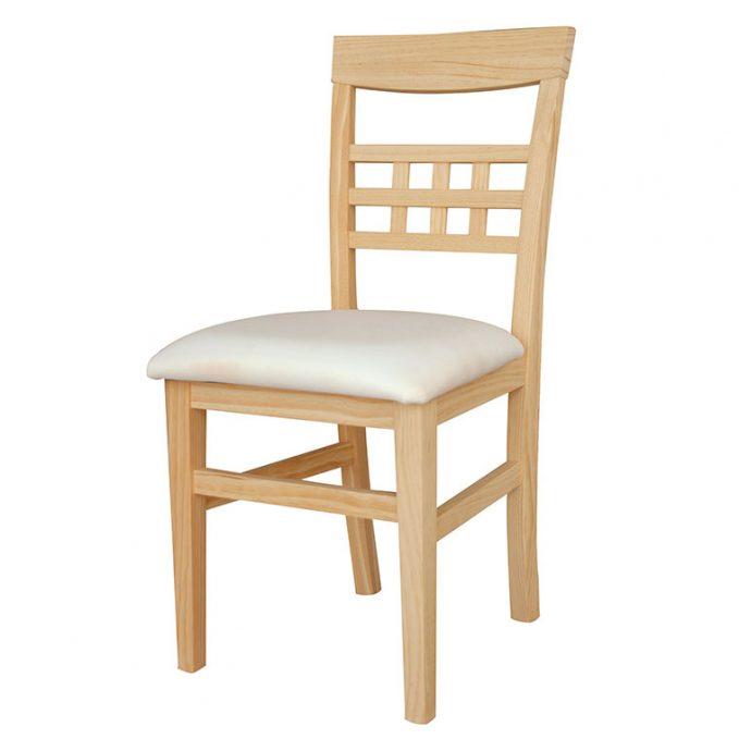 Silla modelo Huesca asiento pretapizado madera pino crudo