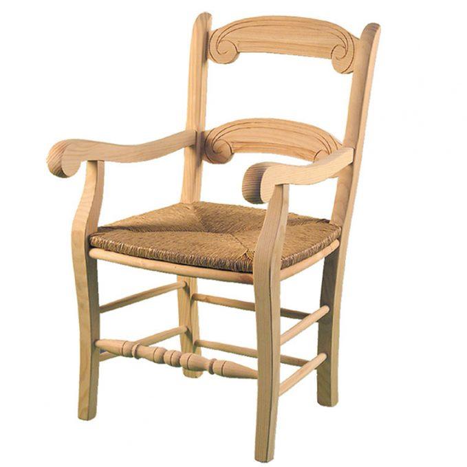 Sillón modelo Rondeña asiento enea madera pino crudo