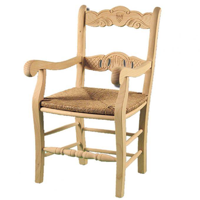 Sillón modelo Calado asiento enea madera pino crudo