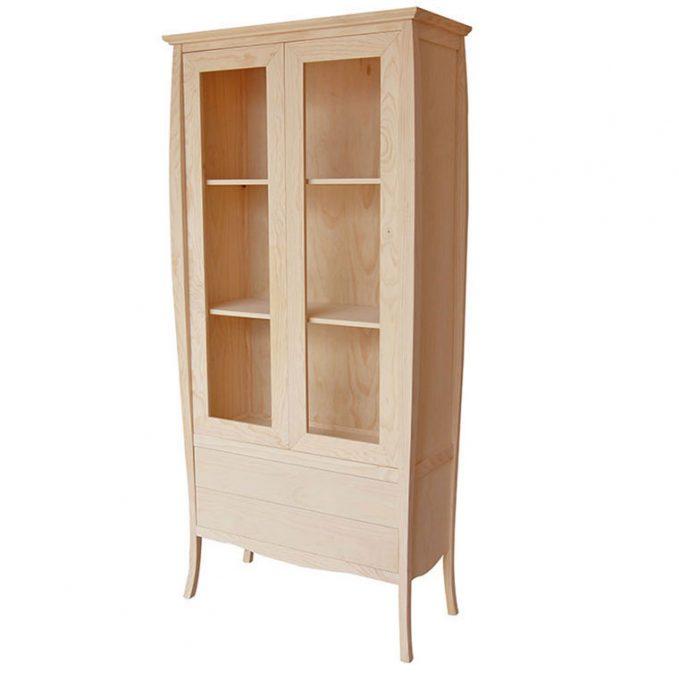 Vitrina 2 puertas madera pino crudo modelo Inglés