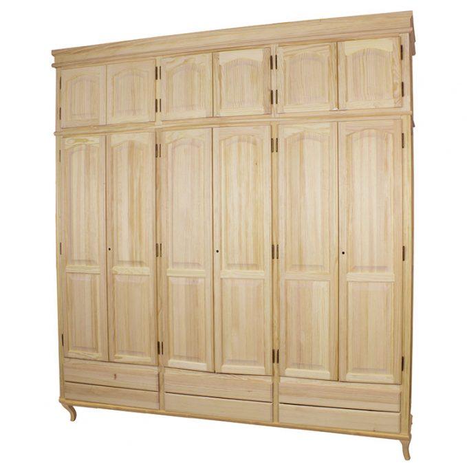 Armario 2, 3, 4 y 6 puertas madera pino crudo modelo Isabelino