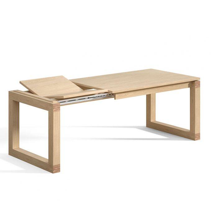 Mesa extensible 120, 140 y 160 cm. madera pino crudo modelo Cubo