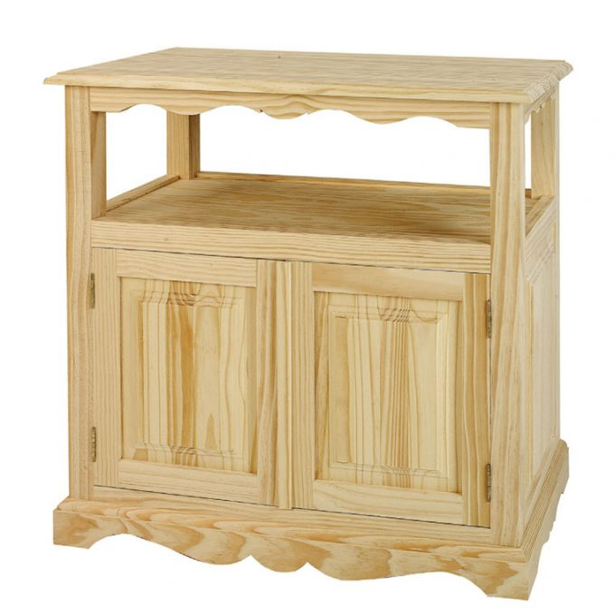 Mesa tv 2 puertas madera pino crudo modelo Rustico